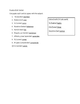 Spanish Present Tense Regular ER/IR Verb Conjugation Quiz   TpT