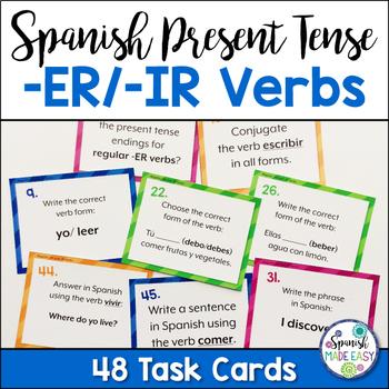 Spanish Present Tense Regular -ER and -IR Verbs Task Cards