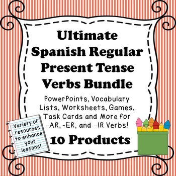 Spanish Present Tense Regular Verb Resource Bundle