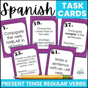 Spanish Present Tense Regular Verb Task Cards