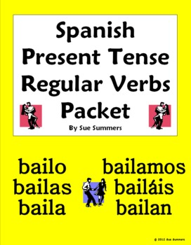 Spanish Present Tense Regular Verbs 33 Page Bundle