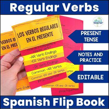 Spanish Present Tense Regular Verbs Interactive Flip Book EDITABLE