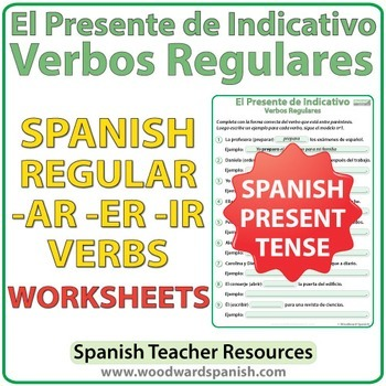 Spanish Present Tense - Regular Verbs Worksheets