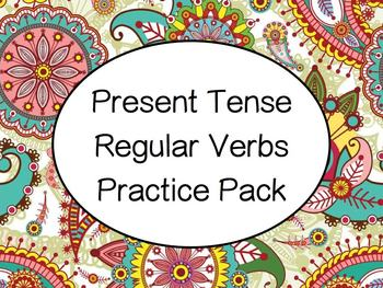 Spanish Present Tense Regular Verbs (-ar, -er, -ir) Practice Worksheets Pack