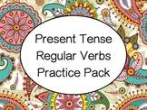 Spanish Present Tense Regular Verbs (-ar, -er, -ir) Practice Worksheets Pack