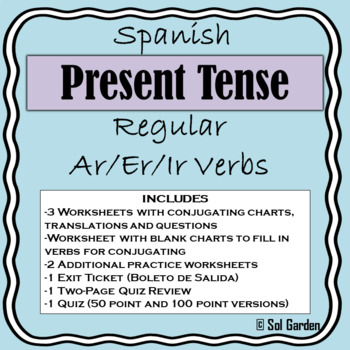 Spanish Present Tense Review Worksheets- 10 pages with quiz review and quiz