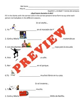 Spanish Present Tense Review: Slideshow and Scaffolded Activity!