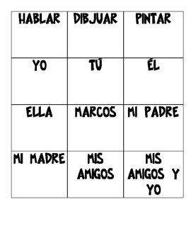 Spanish Present Tense Sentence Creation