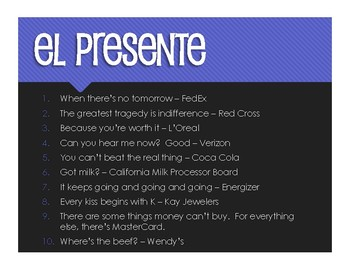 Spanish Present Tense Slogans and Jingles