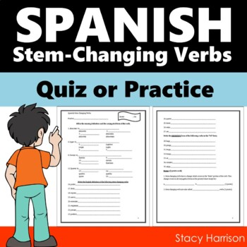 Spanish Present Tense Stem-Changing Verbs Worksheet or Quiz