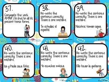 48 Spanish Present Tense Task Cards (REGULAR AR VERBS ONLY)