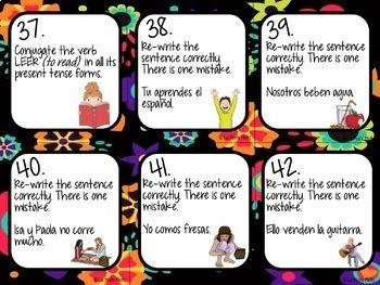 Spanish Present Tense Task Cards (REGULAR ER VERBS ONLY)