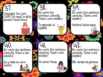 48 Spanish Present Tense Task Cards (REGULAR ER VERBS ONLY)