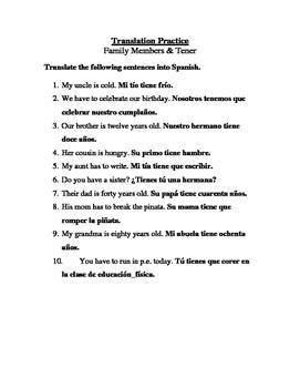 Spanish Present Tense Tener & Family Translation Sheet