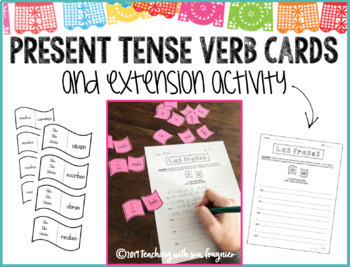 Spanish Present Tense Verb Cards with Extension Activity
