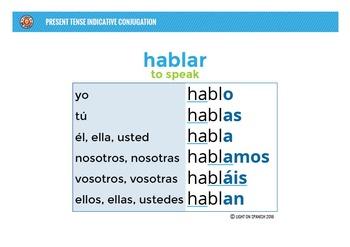 Spanish Present Tense Verb Conjugation 100 Charts