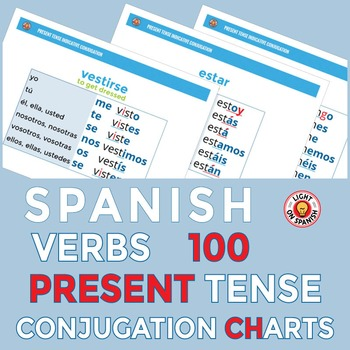 Spanish Present Tense Verb Conjugation 100 Charts By Light On Spanish