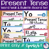 Spanish Present Tense Verb Conjugations Word Wall & Bulletin Board Set