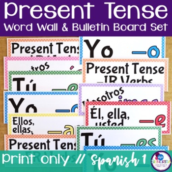 Spanish Present Tense Verb Conjugations Word Wall & Bullet