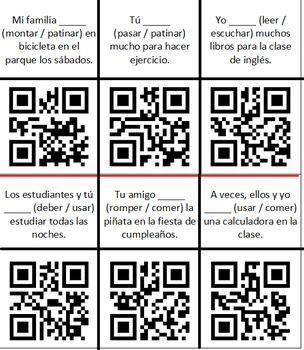 Spanish Present Tense Verb Review - QR Task Cards