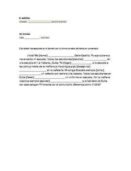 Spanish Present Tense - Verb fill-ins