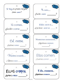 Spanish Verbs : Ser, Estar, Tener, Vivir, Comer, & Tomar