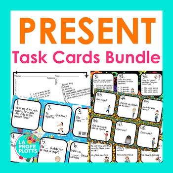 Spanish Present Tense Verbs Task Cards Bundle by La Profe Plotts