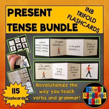 Spanish Present Tense Verbs Interactive Notebook Trifold Flashcards Bundle