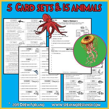 "Spanish Present Tense Verbs with Regular ""AR"" endings. Ocean Animal Task Cards."