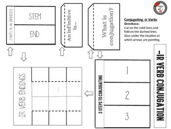 Spanish Present Tense -ir Verb Conjugation Interactive Notebook Page