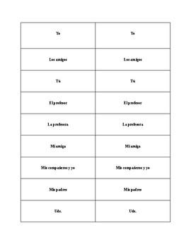 Spanish Present Tense regular verbs Making Sentences