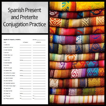 Spanish Present and Preterite Tense Conjugation Worksheet