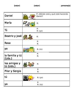Spanish- Present progressive information gap activities- communication
