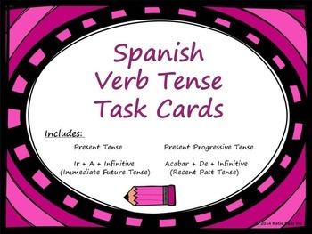 Spanish  Present,Present Progressive,Ir a infinitive,Acabar de Task Cards