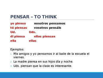 Spanish Presentations - Present Tense Stem-Changing Verbs