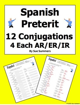 Spanish Preterit - 12 Verbs, Each With 4 Conjugations Worksheet