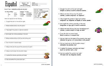 Spanish Preterit -AR Verbs and Clothing Sentences Worksheet - La Ropa