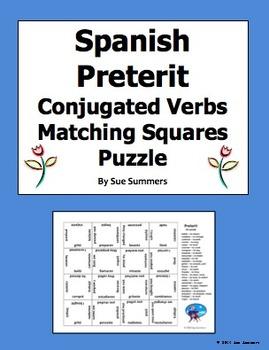 Spanish Preterit AR Verbs Conjugated 4 x 4 Matching Squares Puzzle