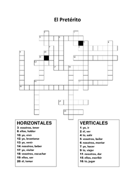 Spanish Preterit Cross-Word Puzzle