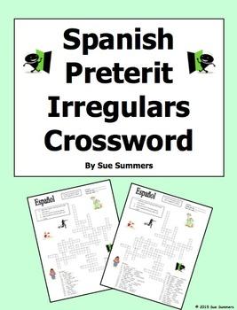 Spanish Preterit Irregulars Crossword Puzzle and Image IDs