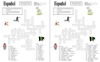Spanish Preterit Irregulars Crossword Puzzle and Image IDs