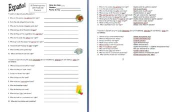 Spanish Preterit, Interrogatives, and Food - Spanish Question Words