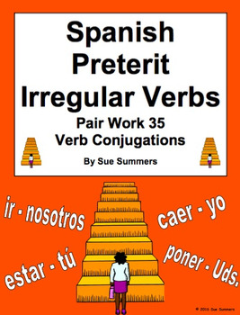 Spanish Preterit Irregular Verbs Pair Work Las Escaleras Activity and Quiz