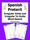 Spanish Preterit Irregulars Word Search Puzzle and Image IDs
