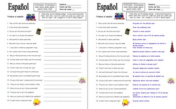 Spanish Preterit Irregulars with Adverbs of Time 20 Sentence Translations