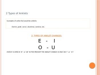 Spanish Preterite Stem-Changing Anklet (-ir) Verbs