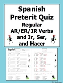 Spanish Preterit Verb Conjugation Quiz or Worksheet