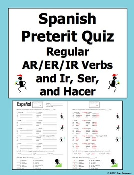 spanish preterit verb conjugation quiz or worksheet by sue summers. Black Bedroom Furniture Sets. Home Design Ideas