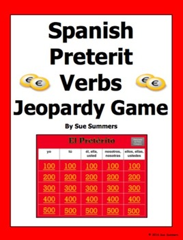 spanish preterit verbs jeopardy game - spanish gamessue summers, Powerpoint templates