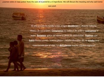 Preterite vs. Imperfect: Trip to Puerto Vallarta!  Crossword and more!